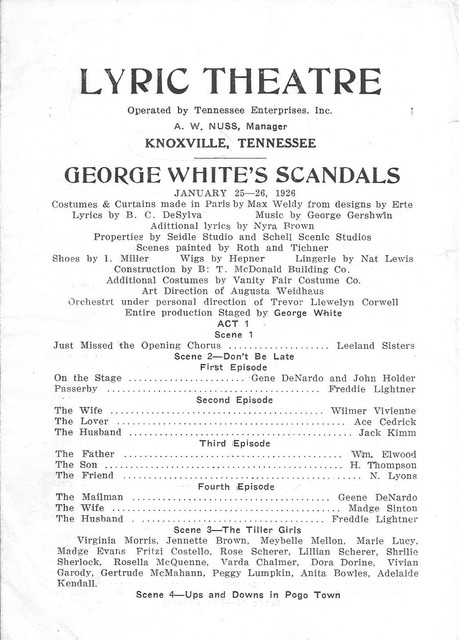 George White's Scandals on tour 1926