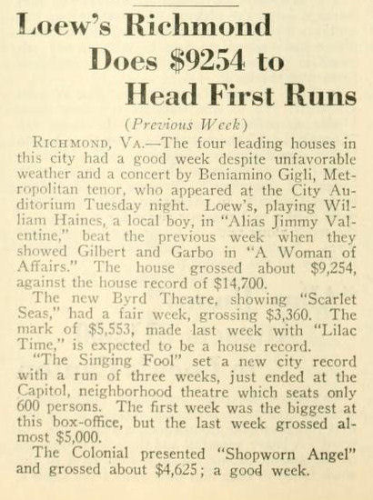 1929 Motion Picture News article referring to attendance that week