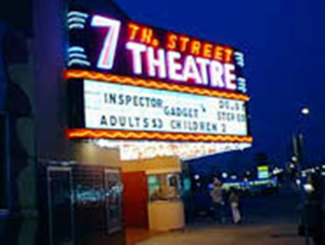 7th Street theater at night