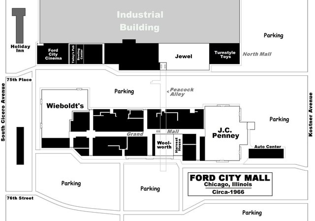 1966 Ford City Mall Map