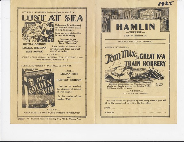 1926 Hamlin Theatre program. Front/Back.