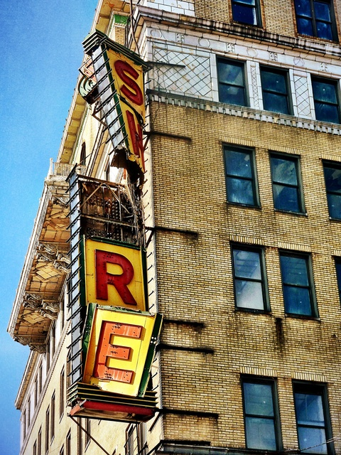 Storm Damaged Shore Theater Sign