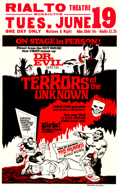 Dr. Evil & His Terrors of the Unknown Movie Poster, Rialto Theater, Morrilton, AR
