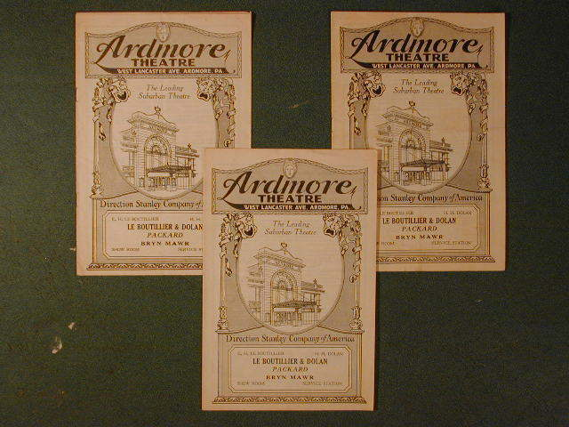 ardmore movie programs circa 1920s