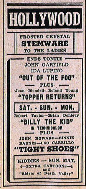 HOLLYWOOD Theatre (Kenosha, Wisconsin) newspaper ad, 1941.