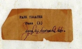Old Ticket from the Park Theater date uknown