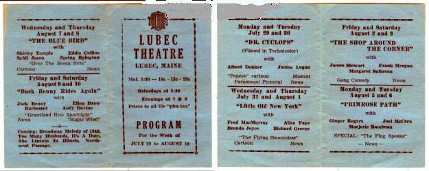 LUBEC Theatre program from 1940; Lubec, Maine.