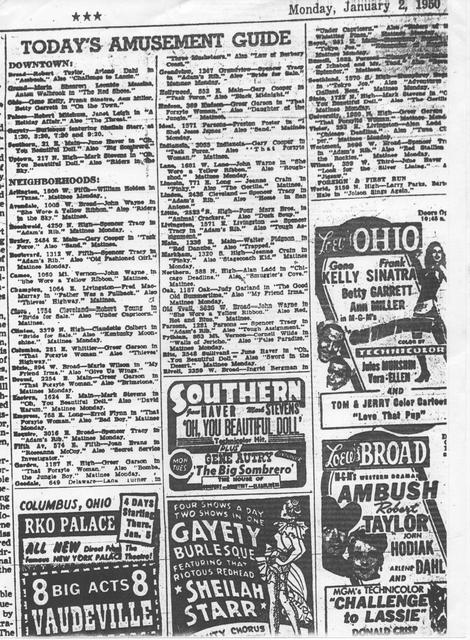 The Guide to Film Showings on Monday, January 2, 1950