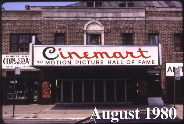 Cinemart Marquee from across Metropolitan Avenue, 1980