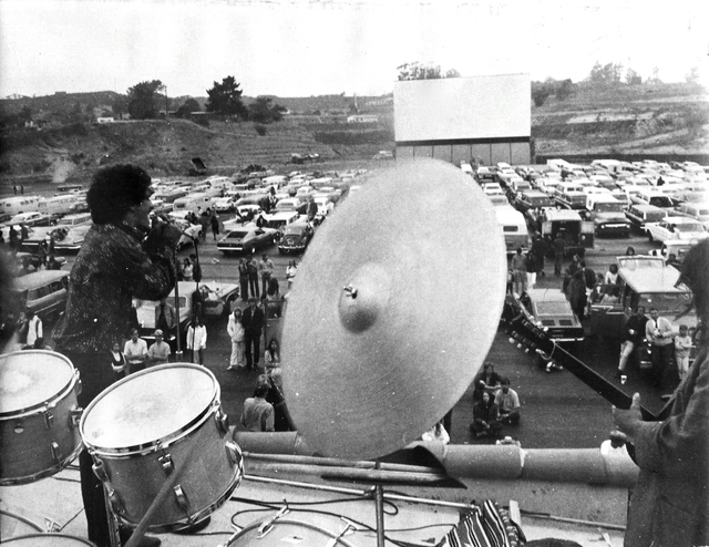 Band set up on concessions roof, 1970