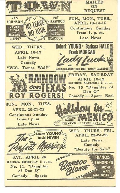 TOWN Theatre; Darlington, Wisconsin (1947)