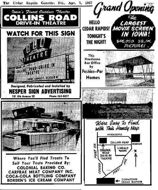 Collins Road Drive-In Grand Opening 1967