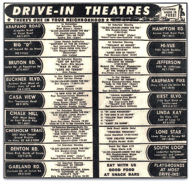 Casa View Drive-In Ad ... Dallas Texas