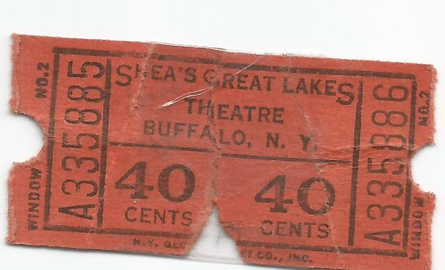 Shea's Great Lakes Theatre Ticket stub