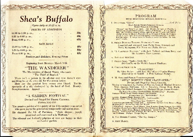 Shea's Buffalo program from the week of March 8, 1926