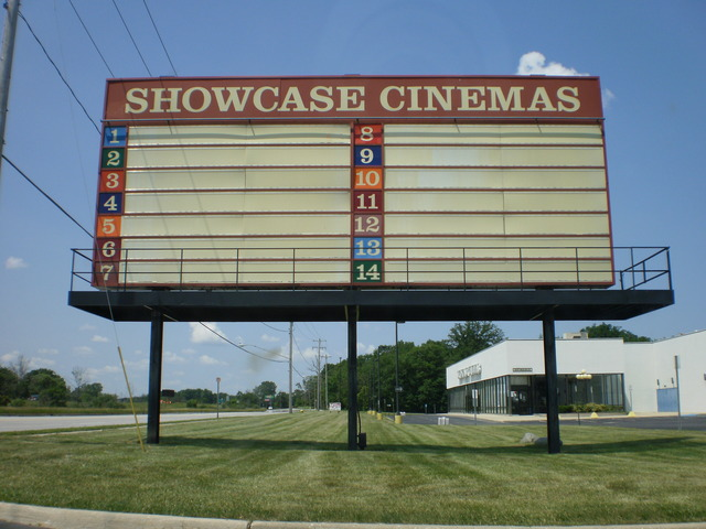 Attraction board of the former Showcase Cinemas Flint East
