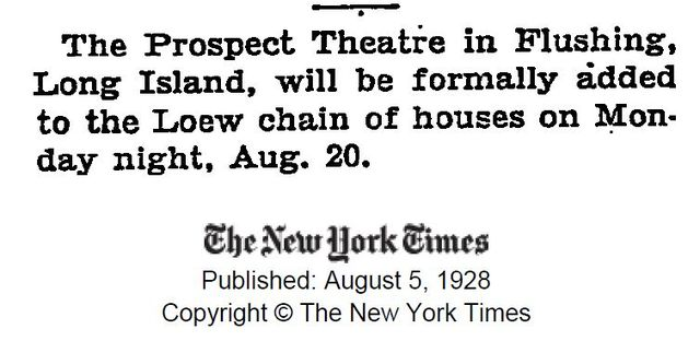 Article on the Prospect Theater