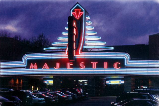 Night photo of the Majestic Cinema
