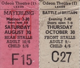 Ticket stubs August and October 1969 Odeon 1