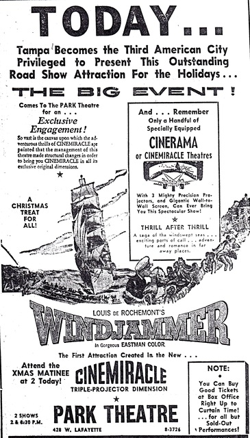 "Opening of ""Windjammer"" in Cinemiracle, Park Theatre, Tampa FL"