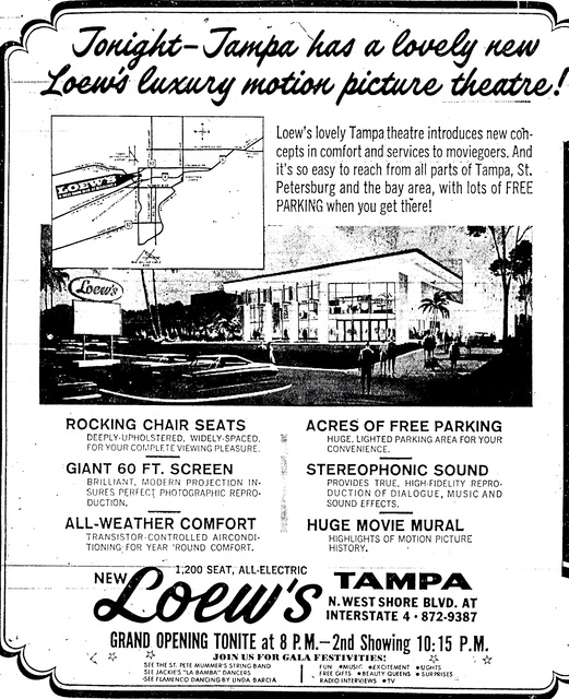 Grand Opening of Loew's Tampa on December 20, 1968