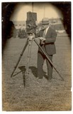 <p>This is C.M. Biggers, owner-operator of Winter Garden's theatres operating a 35mm movie camera in an unknown location.</p>