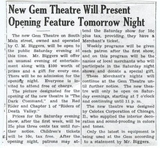 Gem Theatre Opening Article