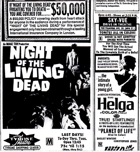 Tyrone Theatre, St. Petersburg, FL, Night of the Living Dead Fright Policy
