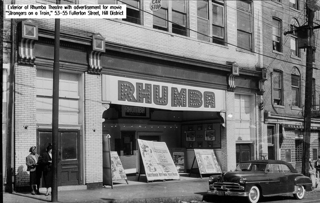 Exterior view of the Rhumba Theatre, Herron Avenue, Hill District, circa 1948–1953.