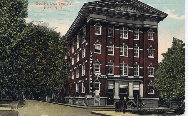 Temple Theatre, Odd Fellows Temple, Morgan St, Ilion, NY - Post Marked 1913