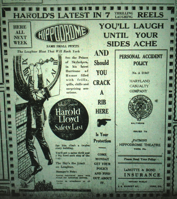 Safety Last ad from September 1923