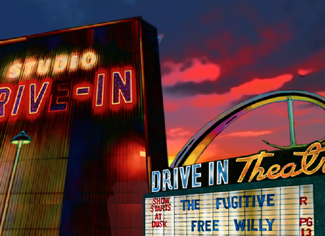 DRIVE IN MOVIE THEATRE Illustration and Design: CLIFF CARSON