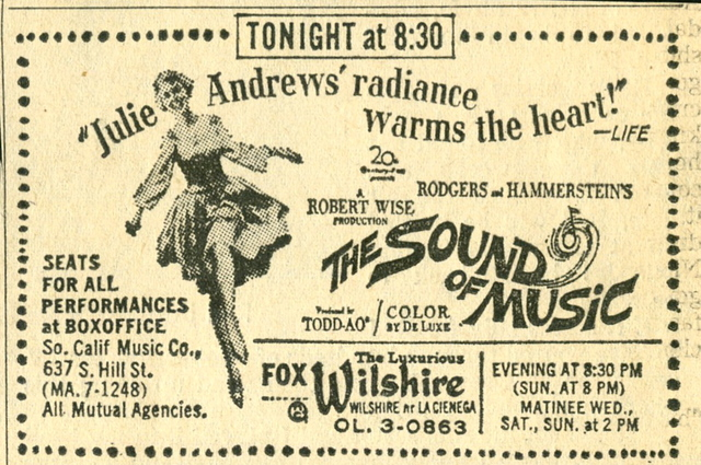THE SOUND OF MUSIC newspaper ad  FOX WILSHIRE THEATRE