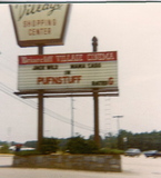 BRIARCLIFF VILLAGE THEATRE marquee showing of PUFNSTUF