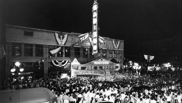 "Madison Theater: Peoria, IL. ""Earthworm Tractors"" movie premeir -1938"