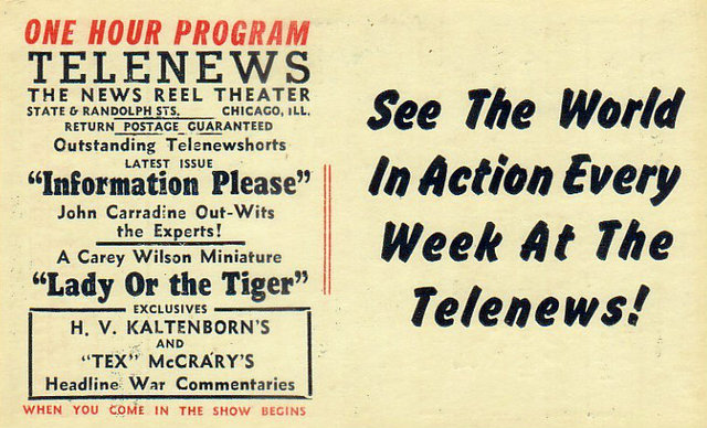 TELENEWS (LOOP) Theatre; Chicago, Illinois.