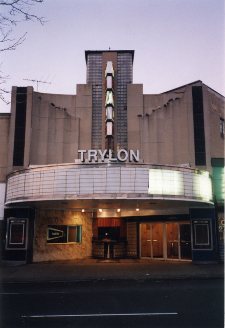 Trylon Theater's Art Deco facade & entrance pavilion in Dec. 1999, Courtesy of Michael Perlman