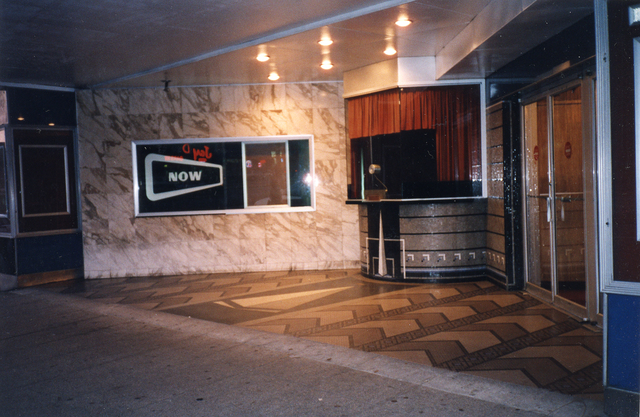 Trylon Theater's Art Deco entrance pavilion in 1999 bearing the Trylon Monument, Courtesy of Michael Perlman