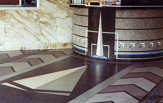 Trylon Theater's mosaic ticket booth & terrazzo and mosaic floor in 1996 bearing the Trylon Monument