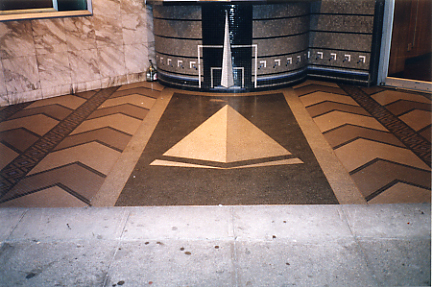 Trylon Theater's mosaic ticket booth & terrazzo and mosaic floor in 1999 bearing the Trylon Monument