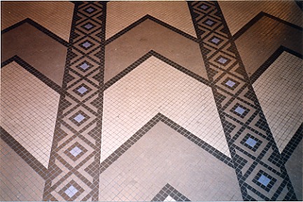 Trylon Theater's Art Deco mosaic floor with chevrons in 1999