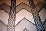 <p>Trylon Theater's Art Deco mosaic floor with chevrons in 1999</p>