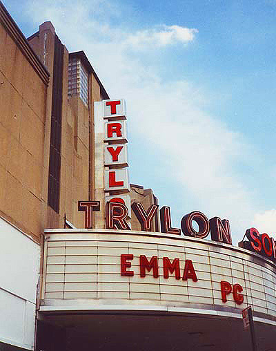 "Trylon Theater's elliptical marquee with its original reverse channel neon sign reading ""TRYLON"" - Photo circa August 1996"