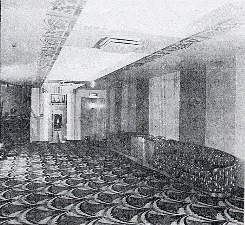 Trylon Theater's standee area with an Art Deco Trylon Monument-adorned fountain, 1941 Theatre Catalog