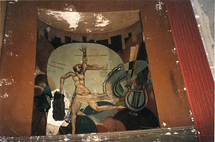 "Trylon Theater's ""World of Tomorrow"" murals of the 1939 World's Fair alongside the proscenium"