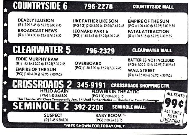 Crossroads Theatre, St. Petersburg, FL, Last Day Ad
