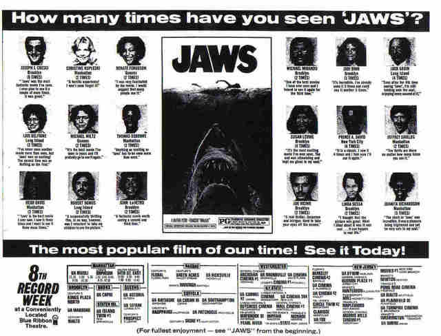 here's an old movie listing ad from NY newspaper circa 1975 lists the ISLAND TWIN theater for Jaws.