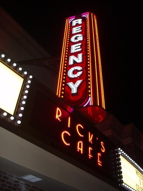 Regency LED Blade Sign at Night
