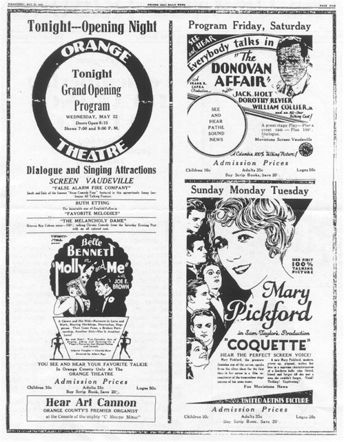 Original 1929 Opening Night Advertising