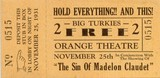 1931 Orange Theatre Movie Ticket